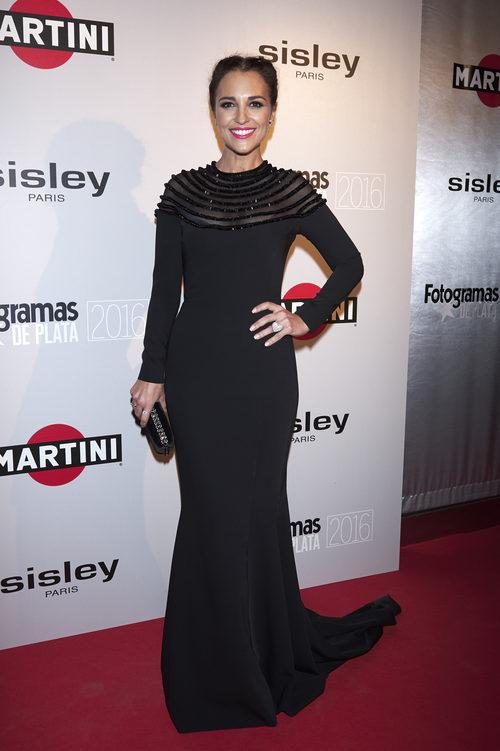 Paula Echevarría con un total look black en los Premios Fotogramas de Plata 2016