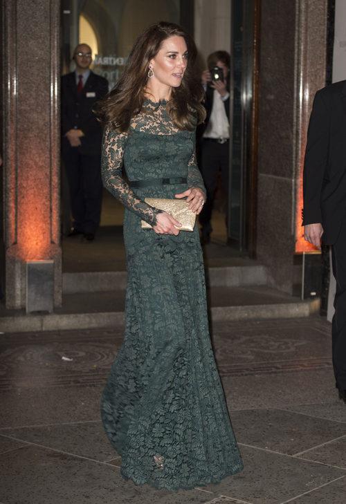Kate Middleton con un vestido verde de encaje en Londres