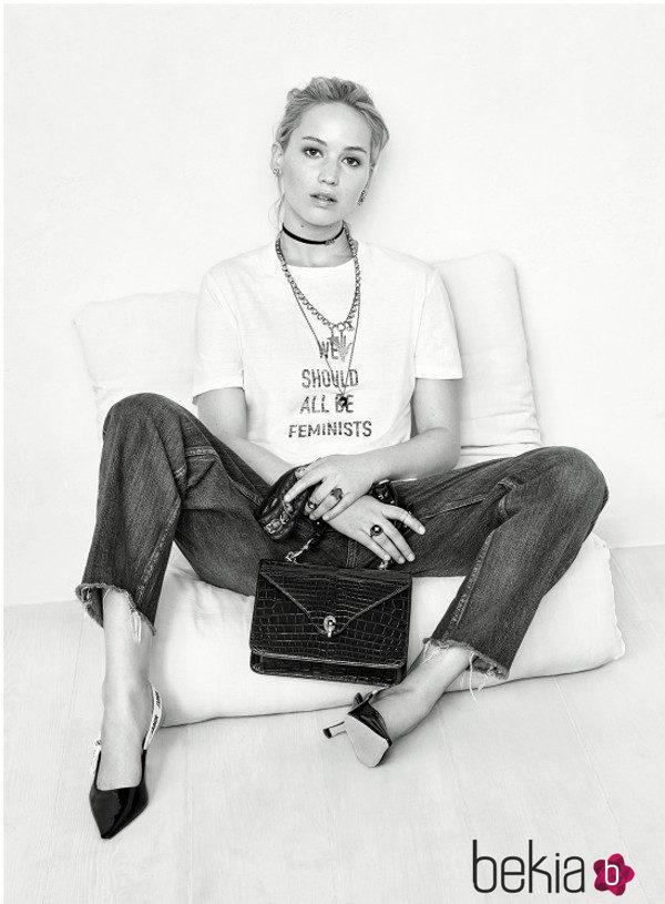 Jennifer Lawrence con la camiseta feminista de Dior primavera/verano 2017