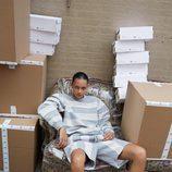Total look a rayas de la colección cápsula de Alexander Wang para Adidas Originals