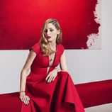 Olivia Palermo con un collar rojo intenso de Piaget primavera/verano 2017