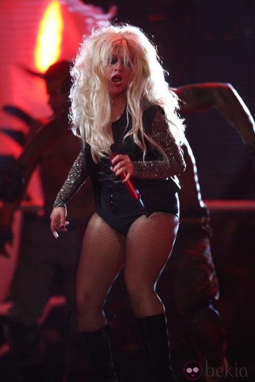 Christina Aguilera durante uno de sus conciertos