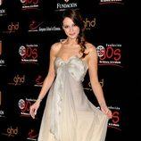 Eva González con un vestido de seda champán