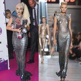El vestido metalizado largo de Lady Gaga firmado por Paco Rabanne