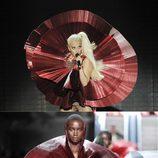 El look metalizado rojo de Lady Gaga en los EMA 2011 es de Paco Rabanne