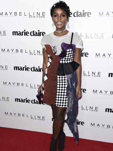 Janelle Monae con un peculiar vestido en un evento de la revista Marie Claire