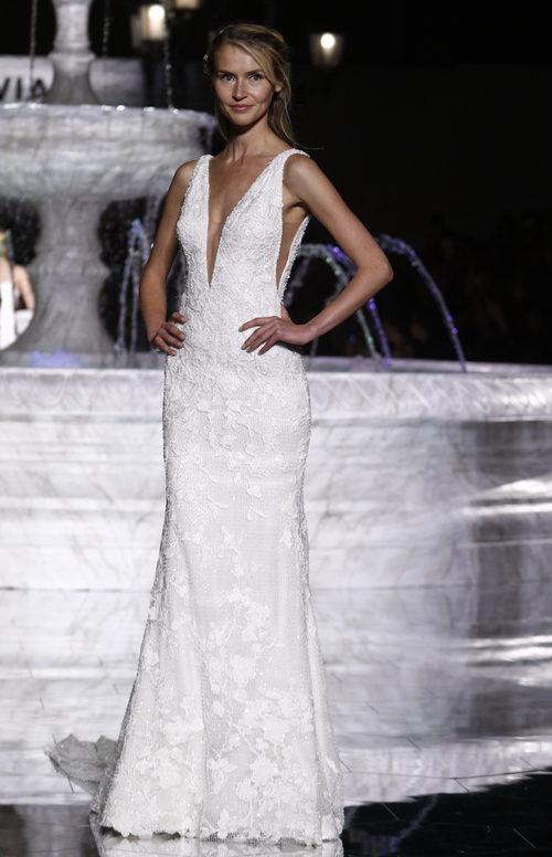 Vestido de organza de la colección 2018 en en la Barcelona Bridal Week