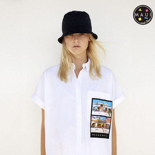 Camisa oversize con bolsillo estampado de la colección cápsula para verano 2017 de Zara y Maui and Sons
