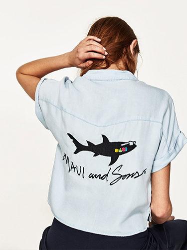 Camisa denim de la colección cápsula para verano 2017 de Zara y Maui and Sons