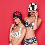 Bikinis de tiro alto de cuadros y topos de la colección retro de Etam de la temporada verano 2017