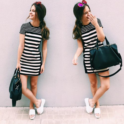 Posado de Laura Escanes con un vestido en las redes sociales