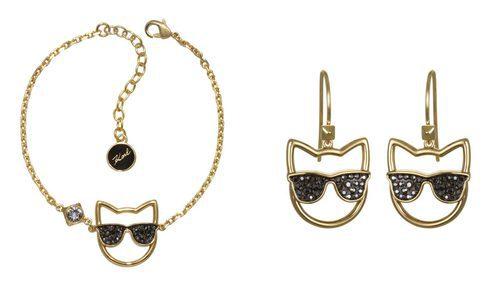 Piezas de la colección de Karl Lagerfeld para Swarovski. Piezas en dorado