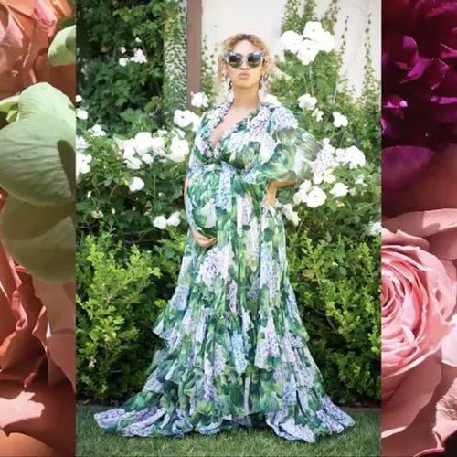 Look premamá casual de Beyoncé con vestido de flores