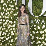 Sara Bareilles con vestido de Naeem Khan en los Tony Awards 2017