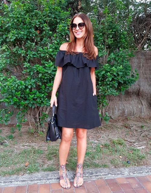 Paula Echevarría con un vestido de Pati Conde by Dándara