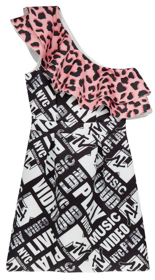 Vestido con volante estampado de la colección colaborativa 'ASOS x MTV'