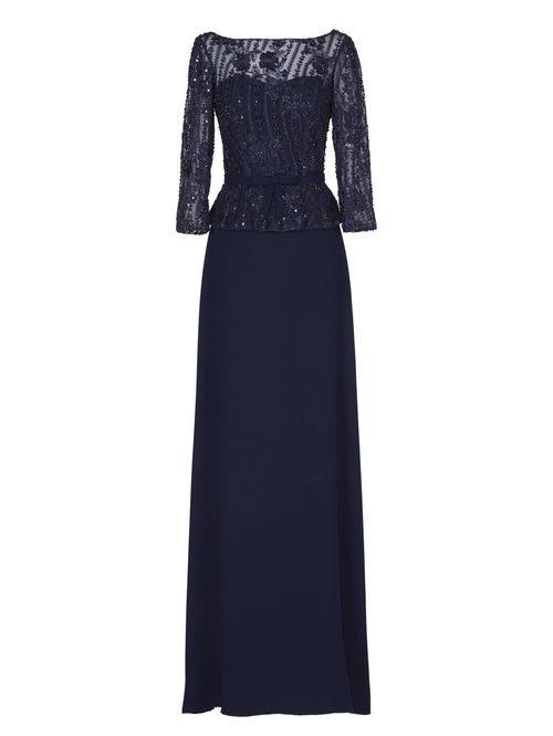 Vestido largo azul marino de la nueva colección de fiesta de Pronovias 2018