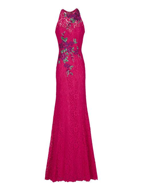 Vestido largo rosa estampado de la nueva colección de fiesta de Pronovias 2018