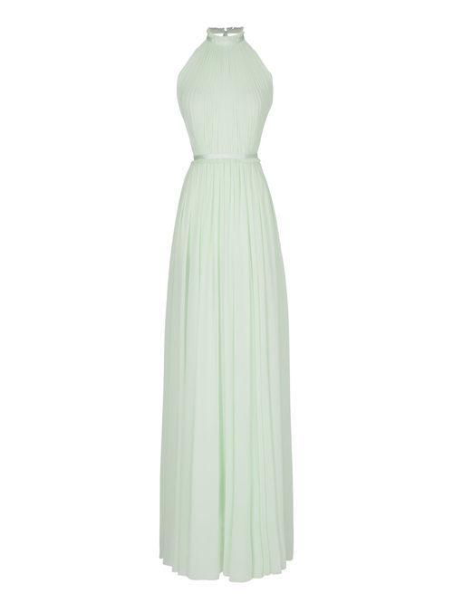 Vestido largo verde menta de la nueva colección de fiesta de Pronovias 2018