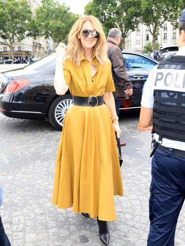 Cèline Dion con un vestido camisero amarillo mostaza