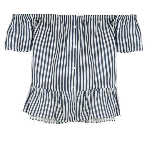 Top de rayas sin hombros de Bershka de la colección de verano 2017