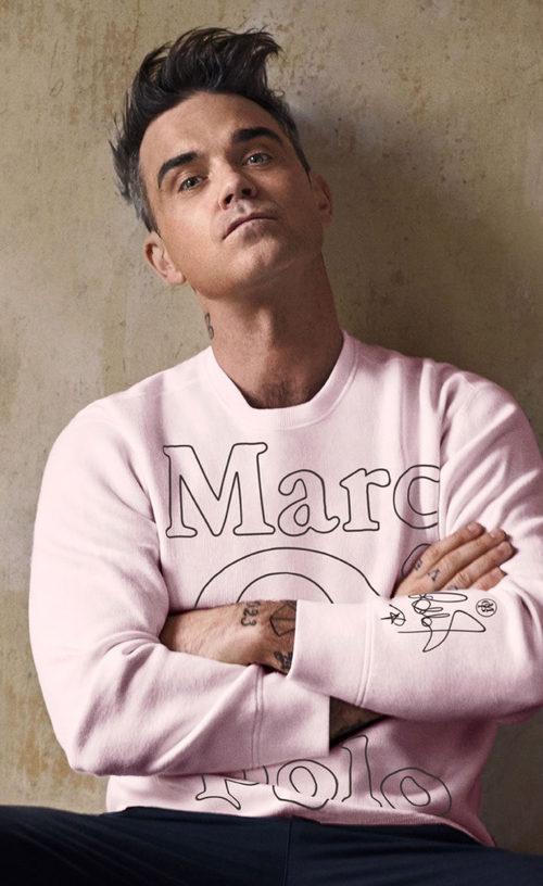 Robbie Williams apuesta por el rosa para su colección de sudaderas de MARCO'O POLO