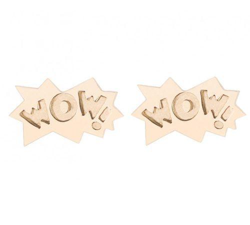 Pendientes con diseño 'Wow' en oro rosa de la colección ' The Powerpuff Girls x Apodemia'