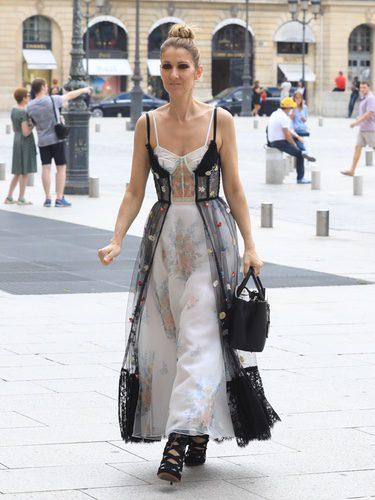 Céline Dion con vestido de encaje y tul estampado