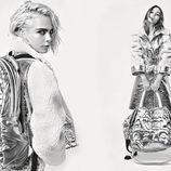 Lily-Rose Depp y Cara Delevingne con abrigo plateado de la colección otoño/invierno 2017 de Chanel