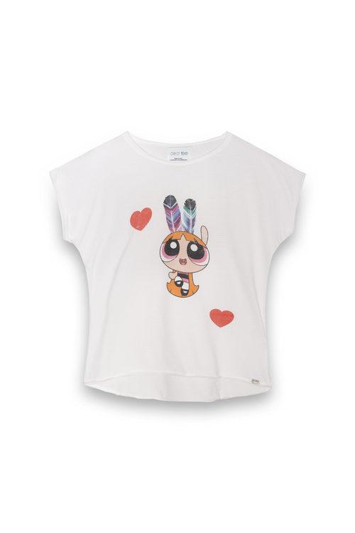 Camiseta blanca de Pétalo de la colección 'Supernenas by Dear Tee'