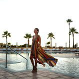 Paula Echevarría con un vestido multicolor en Sancti Petri