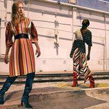 Vestido de rayas y blusa de topos cruzada de la colección prefall de Zara