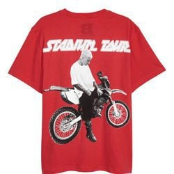 Camiseta de color rojo con estampado de moto de la colección de H&M con Justin Bieber