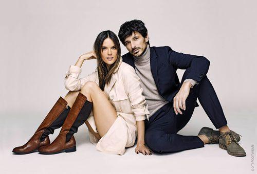 Botas y zapatos de Alessandra Ambrosio y Andrés Velencoso en la campaña de Xti otoño/invierno 2017/2018