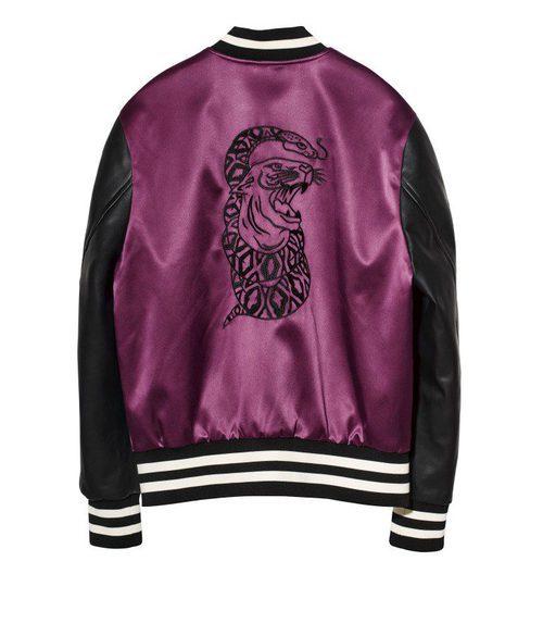 Bomber violeta de la nueva colección de The Weeknd junto a H&M para la campaña de otoño/invierno 2017/2018