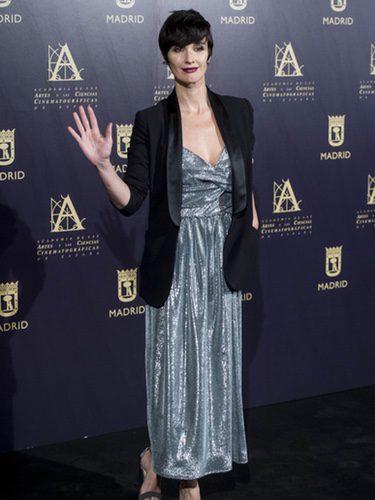 Paz Vega con un esmoquin negro en la presentación de la unión de la Academia de Cine española y Hollywood