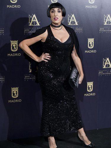 Rossy de Palma con un total black en la presentación de la unión de la Academia de cine española y de Hollywood