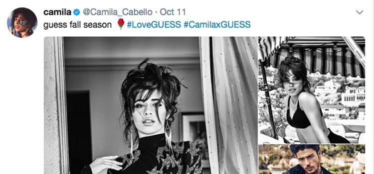 Cuenta de twitter de la cantante Camila Cabello anunciando la colección de 'Guess' en la que ha participado