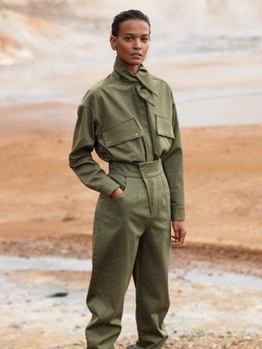 Mono verde militar de mujer de la colección 'Committed' de Mango