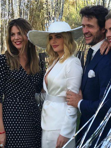 Manuela Velasco con un vestido de lunares en la boda de Miriam Giovanelli y Xabi Ortega