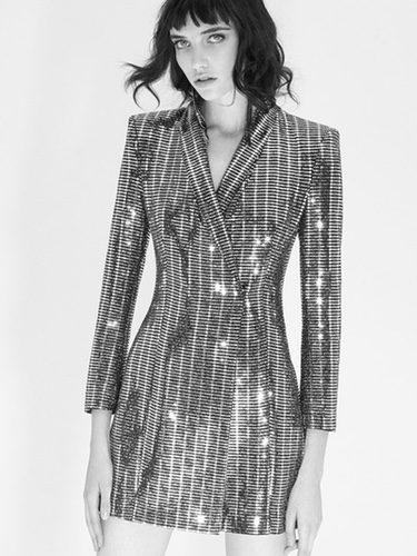 Vestido blazer metalizado de la colección 'Night Out' de Zara