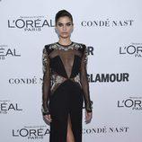 Sara Sampaio con un espectacular vestido negro en los Premios Glamour Women of the Year