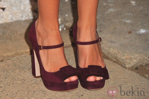 Block heels en color berenjena