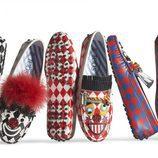 Pares de zapatos estampados de la colección cápsula Tod's circus diseñada por Anna Dello Russo