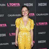 Emily Meade con un vestido largo en la premiere 'I, Tonya' en Nueva York