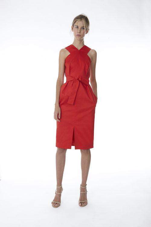 Vestido midi color rojo de la colección 'Resort 18' de '2ND LAB by The 2nd Skin Co'