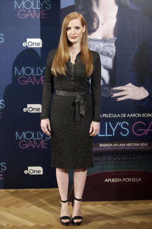 Jessica Chastain en la presentación de la película 'Molly's game' en Madrid