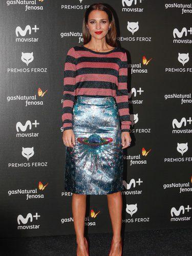 Paula Echevaría con un estilismo original en la presentación de los nominados a los Premios Feroz 2018
