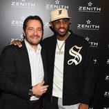El rapero Fabulous con Julien Tornare en el evento benéfico de Zenith Watches