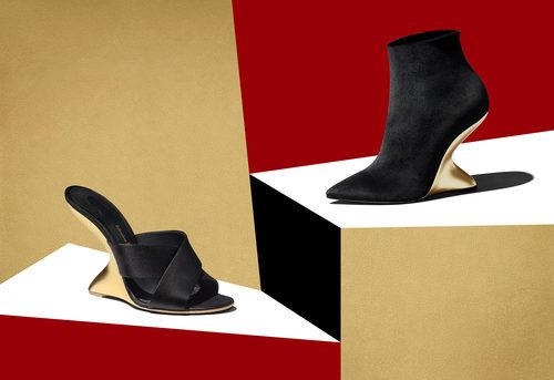 Zapatos negros con tacón dorado de la colección Navidad 2017 de Salvatore Ferragamo